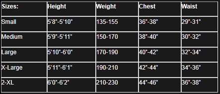 Jettribe Wetsuit Size Chart